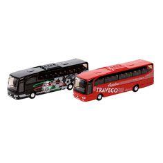 Flot metalbil som Travego bus, der fås i 2 modeller hhv. som rød Super Coach bus og sort med fodbold logo. Køb legetøjsbiler online her. Stort udvalg - mange modeller.