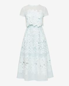 Layered lace midi dress - Pale Green | Dresses | Ted Baker