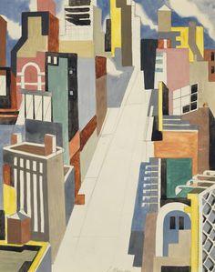 Jan Matulka (Czech-USA 1890-1972) Cityscape (c. 1925) mixed media on paper 47 x 37.5 cm