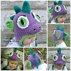 PATTERN  Dinosaur or Dragon Crochet Hat Pattern PDF by srcorcoran, $5.99