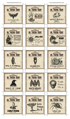 Some more fun vintage ads that I turned into tags. Halloween Potion Bottles, Halloween Labels, Halloween Cards, Fall Halloween, Halloween Decorations, Vintage Labels, Vintage Ads, Vintage Style, Potion Labels