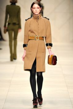 Burberry Prorsum wool coat with oversize rain shield