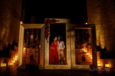Silver frames as ceremony wedding decor at Dreams Riviera Cancun Resort & SPA
