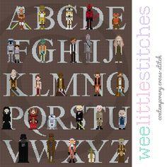 Kitschy Digitals :: Sewing & Needlework Patterns :: Star Wars Alphabet Sampler Cross-Stitch Pattern
