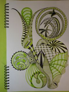 Adding just one colour to a zentangle is very effective