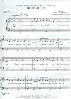 Partitura para piano de Hollywood Hotel - Blue Moon | Partituras de piano | Sheet music for piano
