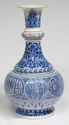 Théodore Deck (1823-1891), Iznik-inspired pot-bellied vase with contoured  neck ring in blue & white glazed earthenware. #Deck #pottery #glaze #bleu_Deck #art_pottery #France #Iznik #blue_white