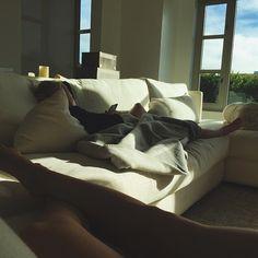 Kendall's white sofa