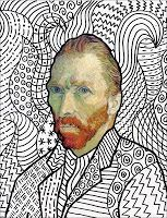 FREE TEXTURE ART LESSON TEMPLATE~ Use this picture of Van Gogh to teach this lesson about line, pattern, and texture.