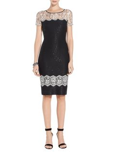 Lace and dramatic sequin details make this St. John Satin Sequin Knit Dress this season's must have. Cocktail Attire, Evening Dresses, Formal Dresses, Womens Cocktail Dresses, Knit Dress, Sequins, Satin, Glamour, Couture