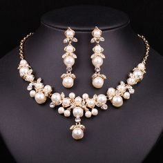 Trendy Indian Jewelry Set Wedding Bridal Accessories Gold Color Imitation Pearl Necklace Earrings Set Jewellery Set Women Gift