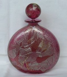 ISLE OF WIGHT STUDIO ART GLASS PERFUME SCENT BOTTLE - PINK/GOLD/SILVER AZURENE
