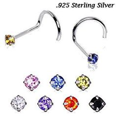 925 Sterling Silver Prong Set Round CZ Nose Screw
