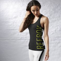 Camiseta sin mangas Reebok Stripe - Negro