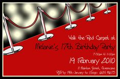 red carpet party invitation templates - Google Search
