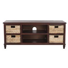 This Cherry Finish Entertainment Console & Rattan Basket Set by Safavieh is perfect! Long Tv Stand, Tv Stand Set, Basket Drawers, Wood Drawers, Furniture Makeover, Home Furniture, Home Decor Items, Diy Home Decor, Low Profile Tv Stand