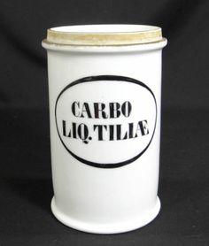 19c.APOTHECARY PHARMACY MEDICAL DRUG STORE PORCELAIN SHOW JAR CARBO LIQUID TILIA