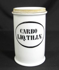 19c.APOTHECARY PHARMACY MEDICAL DRUG STORE PORCELAIN SHOW JAR CARBO LIQUID TILIA