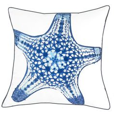 Coastal cool, and sophisticated, this Blue Starfish Outdoor Sunbrella® Pillow embroidered with amazing details is created to enhance any indoor or outdoor room with classic beach home styling. Sunbrella Pillows, Diy Pillows, Throw Pillows, Navy Blue Pillows, White Paneling, Pillow Sale, Pillow Design, Coastal Living, Starfish