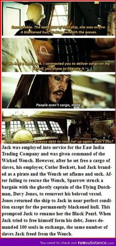 so thats why Jacks not a very good pirate