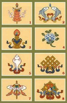 Significations des mantras et symboles bouddhistes, bijoux, artisanats bouddhistes. Signes auspicieux du bouddhisme tibétain - AmeTibétaine.com