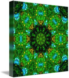 """The Greenhouse Mandala V"" by Richard Jones: Mandala, kaleidoscopic artwork, green-sky-blue-and-gold, 'The Greenhouse Mandala V'"