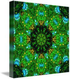 """The Greenhouse Mandala V"" by Richard Jones: Mandala, kaleidoscopic artwork, green-sky-blue-and-gold, 'The Greenhouse Mandala V'"