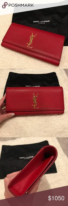 YSL Saint Laurent lipstick red clutch Excellent condition. Only wear is on the 2 corners, not that bad. Absolutely beautiful! Authentic and will be authenticated by Posh Concierge. Only a year old. I don't have the receipt anymore. It will come with the dust bag. The dust bag has a stain but the clutch does not. Saint Laurent Bags Clutches & Wristlets