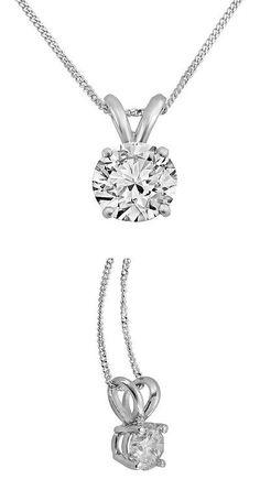 Diamond 164331: 0.33Ct Round Natural Diamond 14K White Gold 1/3Ct Solitaire Pendant Necklace BUY IT NOW ONLY: $199.99