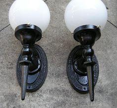 Pair Antique Cast Iron Art Deco Sconces Light Fixtures Gothic Architectural.  SOLD!