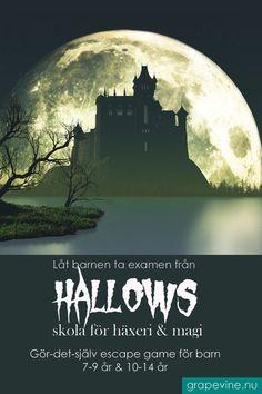 HALLOWEENNYHET! Ett superkul Escape game på Hallows  skola för häxeri & magi där man utbildar trollkarlar och häxor i  åldern 7-9 år. Först ska eleverna skrivas in och sorteras i elevhem  sedan ska de klara av åtta spännande lektioner i Hallows hemliga, l Exit Games, Halloween 2019, Halloween Costumes, Homemade Halloween, Escape Room, Grape Vines, Escape Games, Movie Posters, Bruges