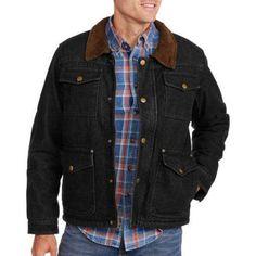 Faded Glory Men's Canvas Jacket, Size: Medium, Black