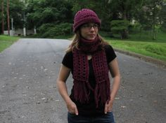 Maroon Crochet Hat and Scarf Set Womens Medium by CrochetLightly, $20.00