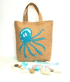 Handmade jute tote appliqued with a blue dreaming summer octopus,artistic,embroidery,summer bag,unique, beach bag