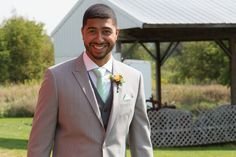 Damn good looking groom!!  #mintwedding #minttie #outdoorwedding #rusticwedding #mintfarmwedding