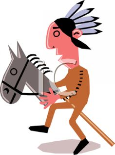 Picture of a Native American Riding a Hobby Horse