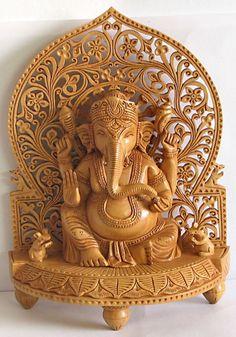 Ganesha Sitting on Throne with Two Mice - Wood Sculpture (Wood) Jai Ganesh, Ganesh Idol, Ganesh Statue, Shree Ganesh, Ganesh Lord, Shri Ganesh Images, Ganesha Pictures, Hindus, Clay Ganesha