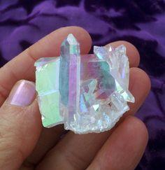 Stunning High Vibration Angel Aura Quartz by LunaBlueBoutique Aqua Aura Quartz, Angel Aura Quartz, Quartz Cluster, Clear Quartz Crystal, Pure Platinum, Precious Metals, Iridescent, Diamonds, Stones