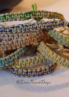 2 Hemp Friendship Bracelets TWO Custom Colorful by LoveBeachDays, $6.00