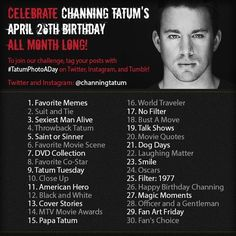 We're celebrating Channing Tatum's April 26th birthday ALL MONTH LONG, so this is the official kickoff for Chan's Tatum Photo-A-Day Challenge! Here's details on how you can join in on the fun: http://channingtatumunwrapped.com/2013/04/want-to-celebrate-channings-birthday-join-our-tatum-photo-a-day-challenge/