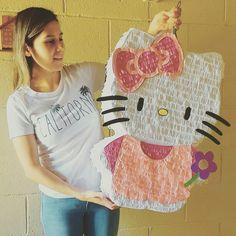 Myself with my inspired HELLO KITTY pinata Hello Kitty Pinata, Piñata Hello Kitty, Hello Kitty Birthday Theme, Hello Kitty Themes, Elsa Birthday, 3rd Birthday Parties, Hello Kitty Tattoos, Themed Gift Baskets, Diy Birthday Decorations