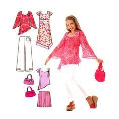 Lizzie McGuire Girls Dress Tunic Pants Short Purse Simplicity 4722 Sewing Pattern