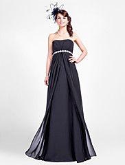 Lanting Floor-length Chiffon Bridesmaid Dress - Black Plus Sizes / Petite Sheath/Column Strapless