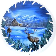 Hand Painted Saw Blade Art Mountain Winter Log Cabin and 2 Elk