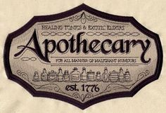 Craft a vintage apothecary with this sign on bath décor! On flat fabrics, for a lighter look, try stitching only the black details without the tan background. This design is available in a design pack. Machine Embroidery $7.00