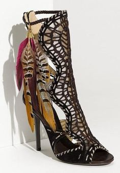 b6c45a5a12fb Jimmy Choo  Kevan  Feather Trim Gladiator Sandal available at