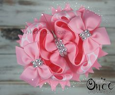 Check out this item in my Etsy shop https://www.etsy.com/listing/286113057/boutique-hair-bow-pink-hair-bowstacked