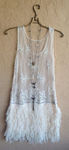 Image of  Rare Free People Great Gatsby Faux feather dress