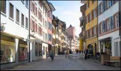 Marktgasse mit Rathausturm in Rheinfelden