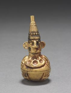 Figural Flask, c. 800-1470 Peru, North Coast, Lambayeque Valley, Sicán or Chimú, 9th-15th Century  hammered and embossed gold alloy